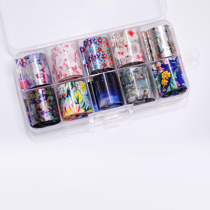 10 Rolls/Box Nail Foils Starry Sky Nail Art Transfer Mixed Pattern Stickers 11