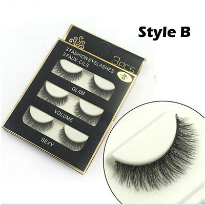 AU Stock 12 Pairs 3D Natural Long Thick Makeup Eyelashes Cross False Eye Lashes 5