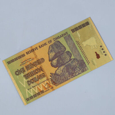 10pcs Zimbabwe 100 Trillion Dollars Banknote Gold Foil Bill World Money Collect 5