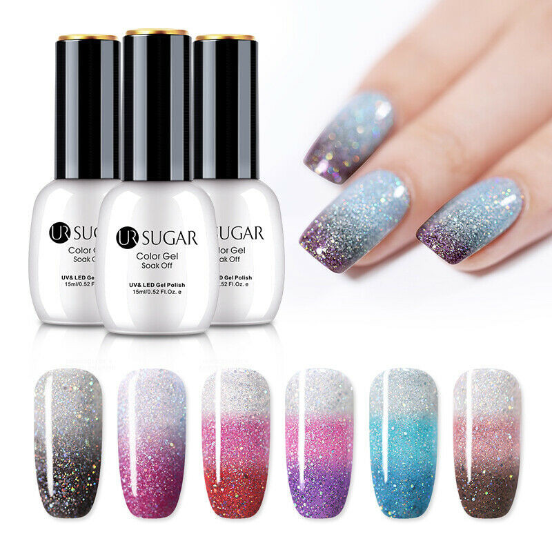UR SUGAR 15ml Thermal Gel Polish 3-layers Glitter Soak Off UV Gel Nail Varnish 9