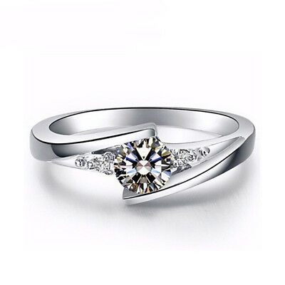 Classic 925 Silver Round Cut White Sapphire Engagement Ring Bridal Jewelry Gifts 5