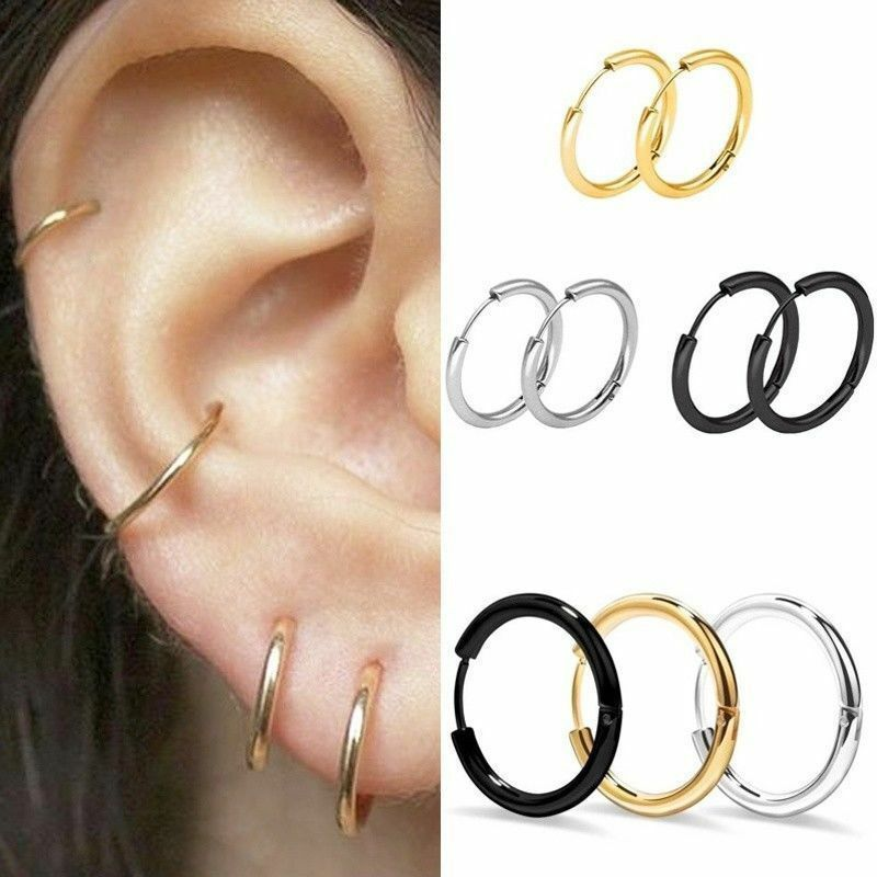 1 Pairs Fashion Women/Men Stainless Steel Hoop Earrings Circle Round Jewelry 12