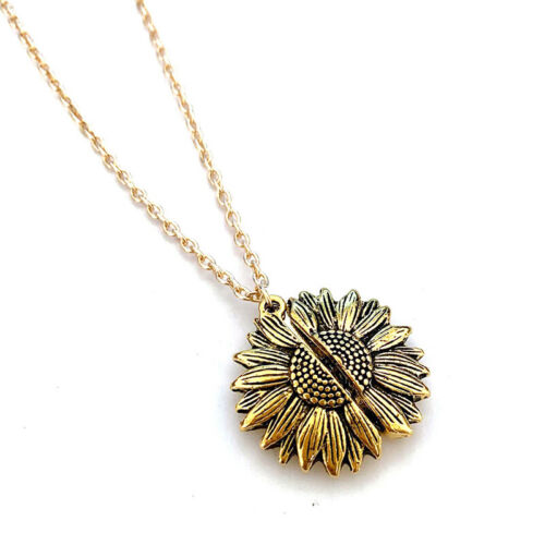 You are my sunshine Open Locket Sunflower Pendant Chain Necklace Jewelry Gift US 7