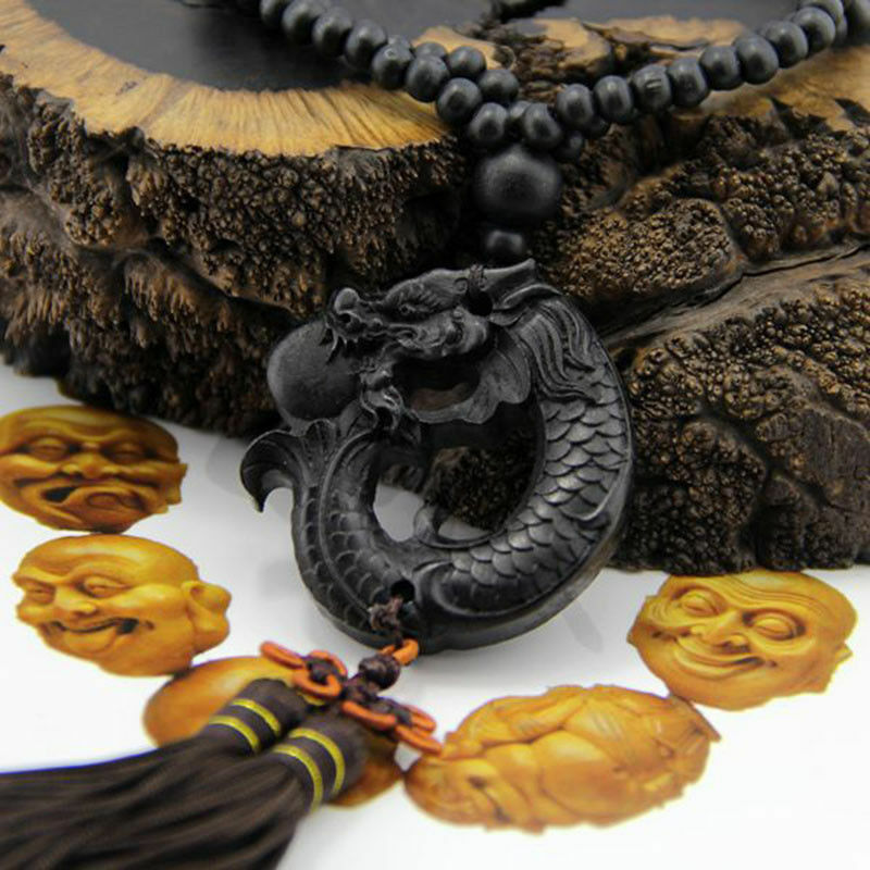 1PC Black Ebony Wood Carving Dragon Sculpture Prayer Beads Car Pendant Jewelry 2