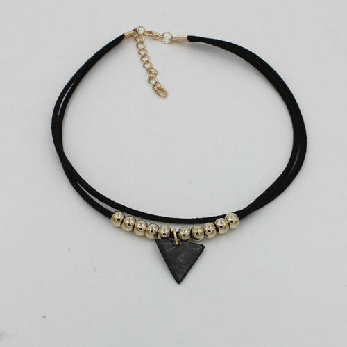 Triangle Stone Choker Double Layer Unicorn Necklaces for Women Bead Necklace LG 5