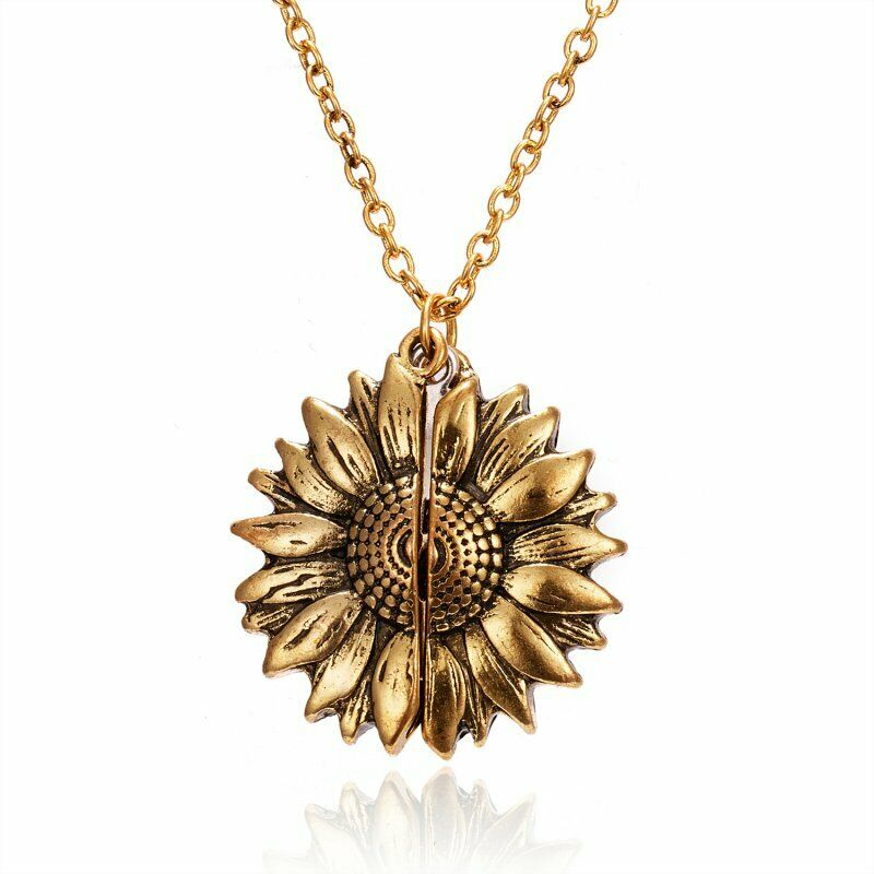Sunflower You are my sunshine Open Locket Colorful Pendant Chain Necklace Gift 7