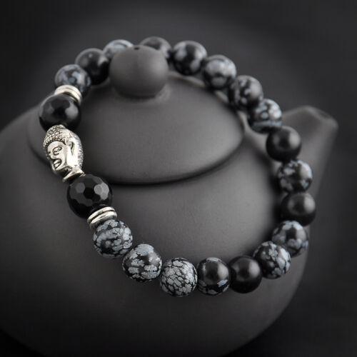 Men Women Natural Gemstone Beads Lava Rock Stone Bracelet Lion/Buddha Head Bead 6