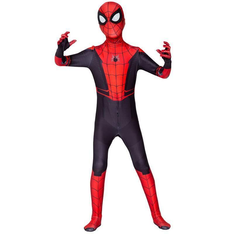 Spiderman Cosplay Kostüm Kinder Erwachsene Jumpsuit Maske Set Fasching Karneval