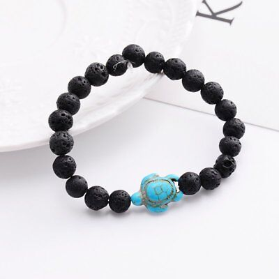 Men Women Natural Stone Turquoise Beaded Turtle Charm Bracelet Lucky Gifts Hot 5
