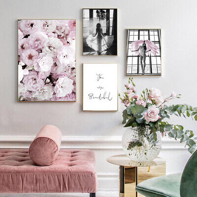 Pink Rose Flower Angel Poster Nordic Wall Art Canvas Print Decoration Picture 2