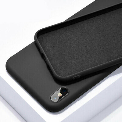 For iPhone 11 Pro Max XS XR 8 7 6s Plus Liquid Silicone Simple Color Case Cover 12