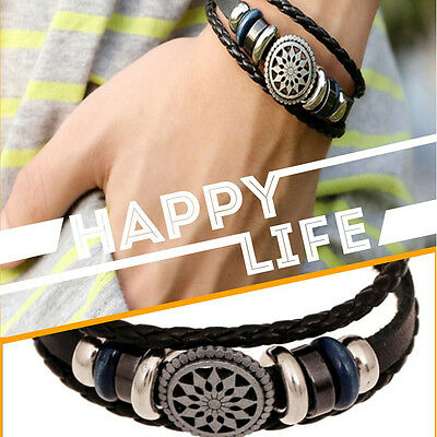 Unisex Women Men Cool Punk Metal Studded Trendy Wristband Leather Bracelet 4