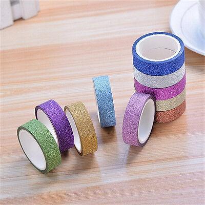 10x Glitter Washi Paper Adhesive Tape DIY Craft Sticker Masking Decor 1.5x3m