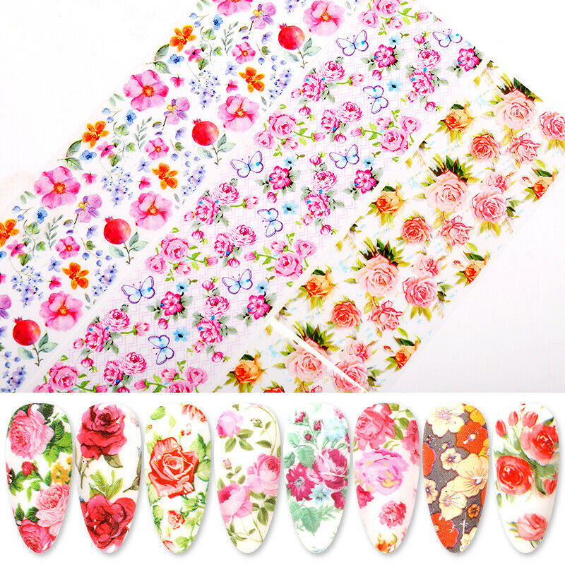 10 Sheets Nail Art Foils Stickers Flower Pattern Transfer Decals Decoration DIY 3
