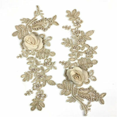 1 Pair DIY Embroidery  Lace Applique Sewing Wedding Dress Trim Craft Flora Patch 8