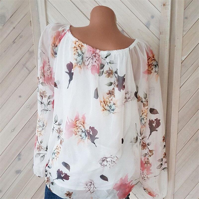 Damen BOHO Blumen Langarm Carmen Bluse Crop Top Oberteil Shirt Tunika Tops DE