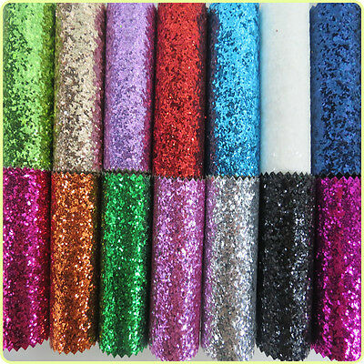 Sparkly Chunky Glitter Fabric Faux Leather Decor Material Bows Crafts 16 COLORS