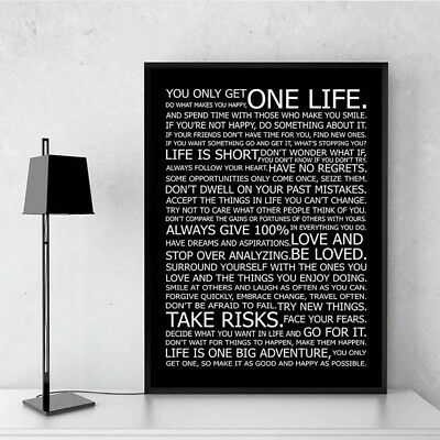 Life Motivational Quote Canvas Print Black White Poster Wall Art Painting Decor 3