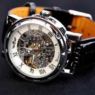 Men's Skeleton Mechanical Wrist Watch Steampunk Luxury Black Leather Stainless 5