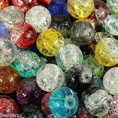 Hot Glass Mixed Round Crackle Crystal Charms Beads Jewelry Making 4/6/8/10/12mm 4