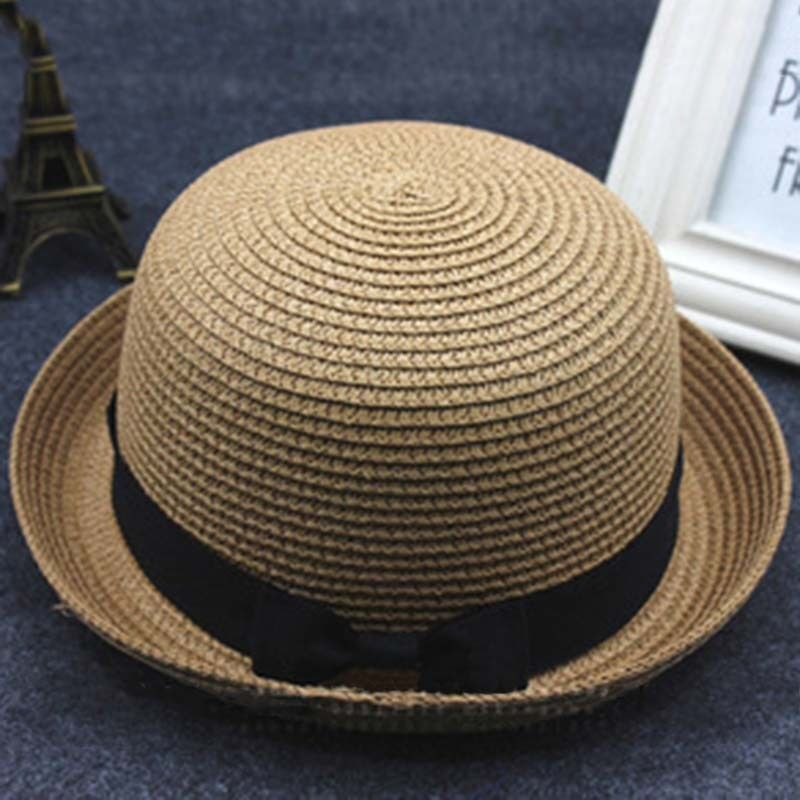 0c596ff3 4 of 12 Trendy Womens Girl Summer Straw Bowler Hat Sun Beach Cloche Brim  Roll Up Hem Cap
