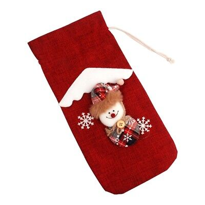 Red Wine Bottle Cover Bags Snowman Santa Claus Christmas Decoration Sequins EP