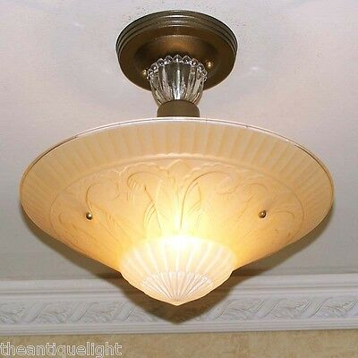 738 30s 40s Vintage Custard Glass CEILING LIGHT Lamp fixture shade custard 4