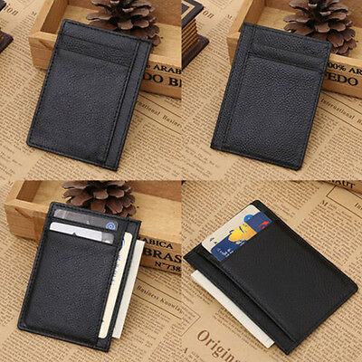 1 of 6 saling mens wallet money clip credit card holder id business leather mini purse - Mens Money Clip Credit Card Holder