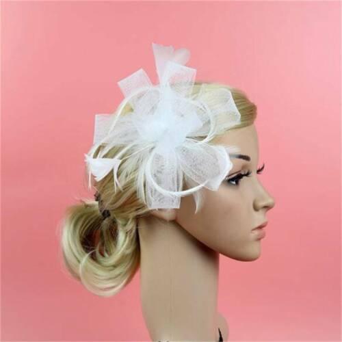 Wedding Prom Races Satin Feather Flower Net Headband Hair Fascinator Side Accent 4