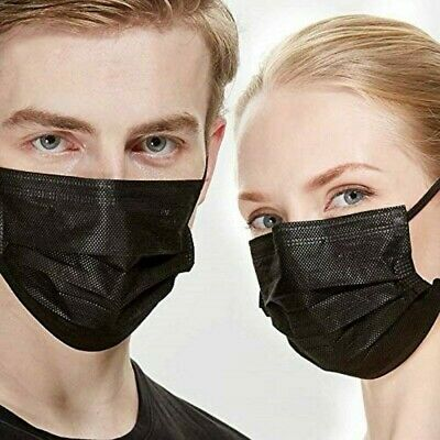 [50Pcs]Black Face Mask Disposable Non Medical Surgical 3-Ply Earloop Mouth Cover 5