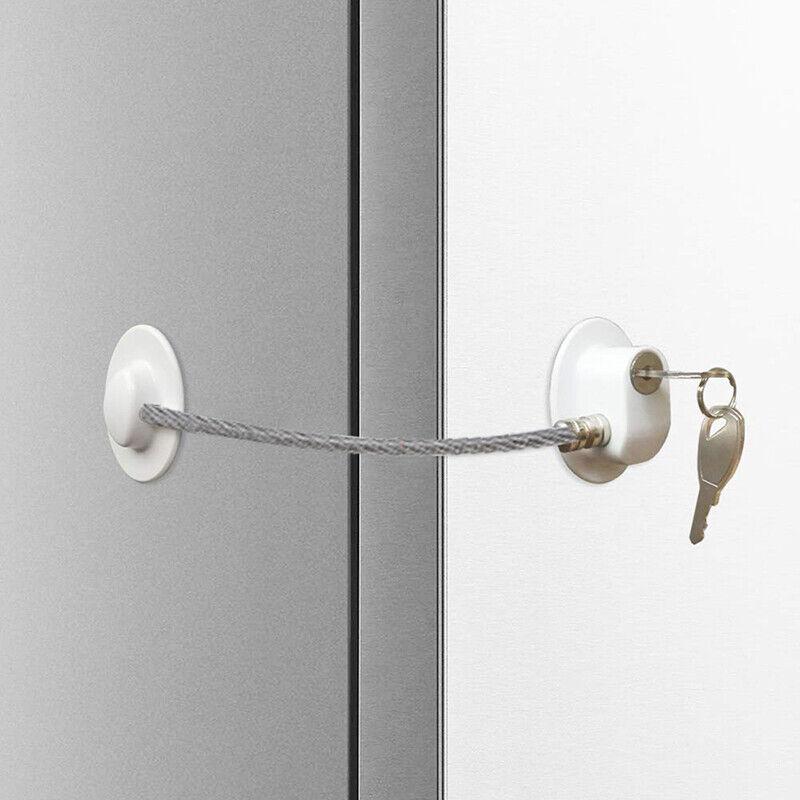 White Refrigerator Locks Freezer Cabinet Lock Strong Cable Security Door Lock H 8