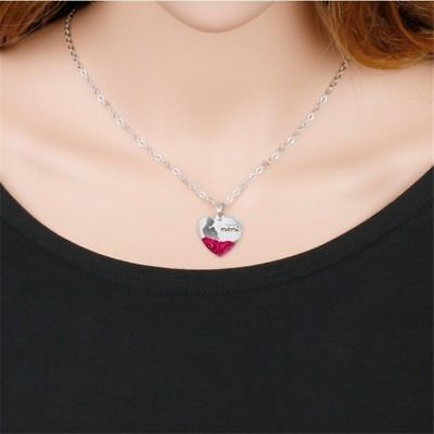 RED ROSE LOVE MOM VALENTINE MOTHERS DAY BIRTHDAY Silver necklace crystal pendant