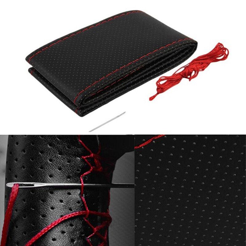 Coprivolante per auto in pelle nera e rossa fai da te 38 cm con ago e filo BHQ 3