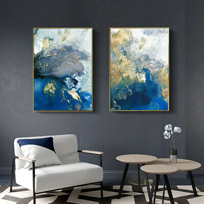 Golden Blue Abstract Poster Canvas Wall Art Abstract Print Modern Home Decor 5