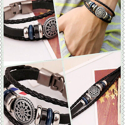 Unisex Women Men Cool Punk Metal Studded Trendy Wristband Leather Bracelet 2