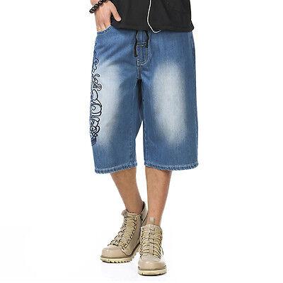 Plus Size Mens Jeans Shorts Baggy Hip Hop Capri Pants Large Embroidery W30-W46