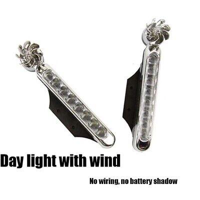 NEW Automatic Wind Power 8 LED Car Light Daytime Bike Motorcycle Daylight MULTI 6