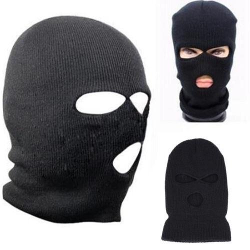 Black Knit 3 Hole Ski Mask BALACLAVA Hat Face Shield Beanie Cap Snow Winter Warm