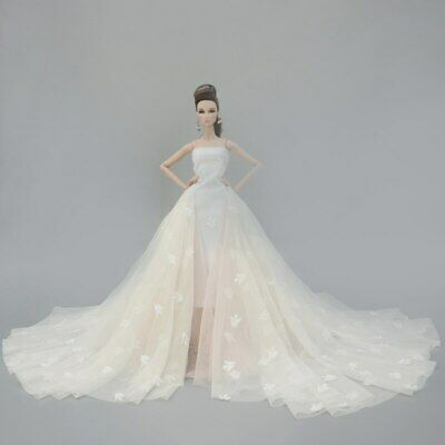 Colorful Floral High Fashion Doll Clothes for 1/6 Doll Wedding Dress Party Gown 2