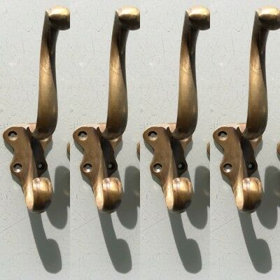"4 COAT HOOKS door solid brass furniture vintage age old style heavy 5 "" patina 6"