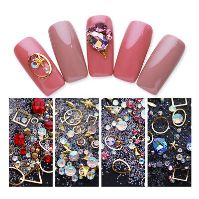 1728pcs Nail Art Rhinestones Glitter Diamonds Crystal Gems 3D Tips Decorations 10