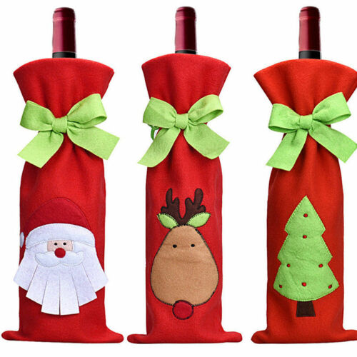 Christmas Table Decorations Santa Tree Wine Bottle Cover Bags Dinner Party Gift 2