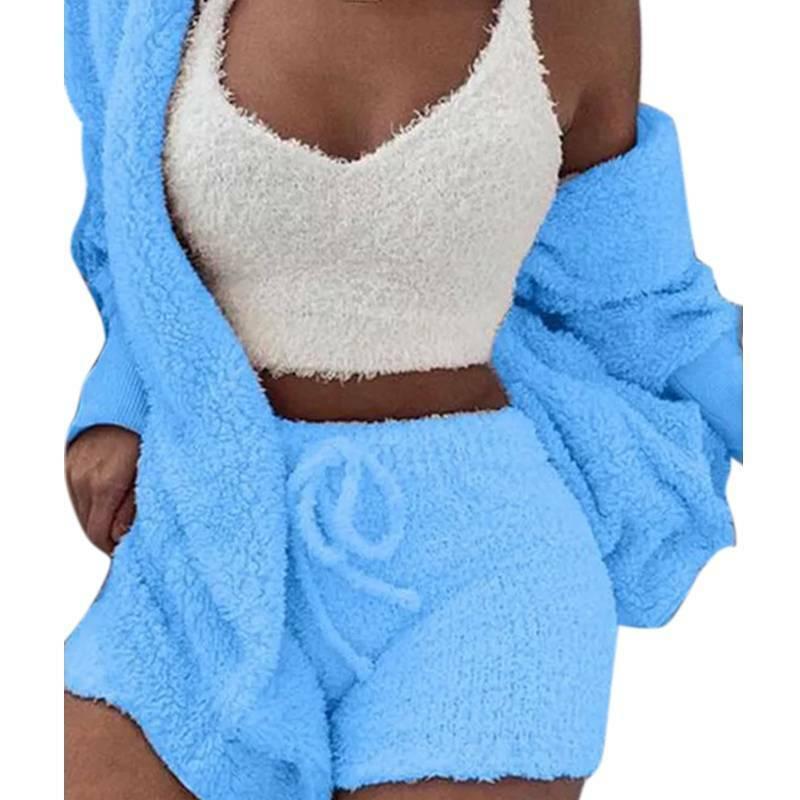 Women Fleece Sleepwear Hoodie Jacket + Crop Top + Shorts 3PCS Outfits Loungewear 6
