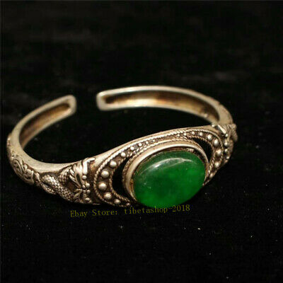 Collect Old Chinese Tibetan silver carved Dragon inlay greenstone jade Bracelet 2