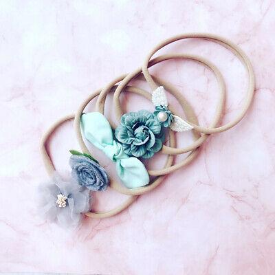 Handmade 5pcs/Set Newborn Baby Girl Headband Elastic Headdress Kid Hair Band Bow 4