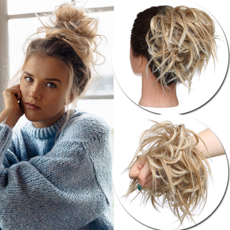 Large Thick Messy Bun Hair Scrunchie Updo Cover Curly Hair Extensions as Human 2