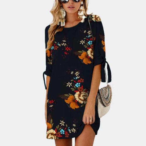 Women Floral Printed Long Tops Blouse Summer Beach Tunic Dress Plus Size 6-22 7