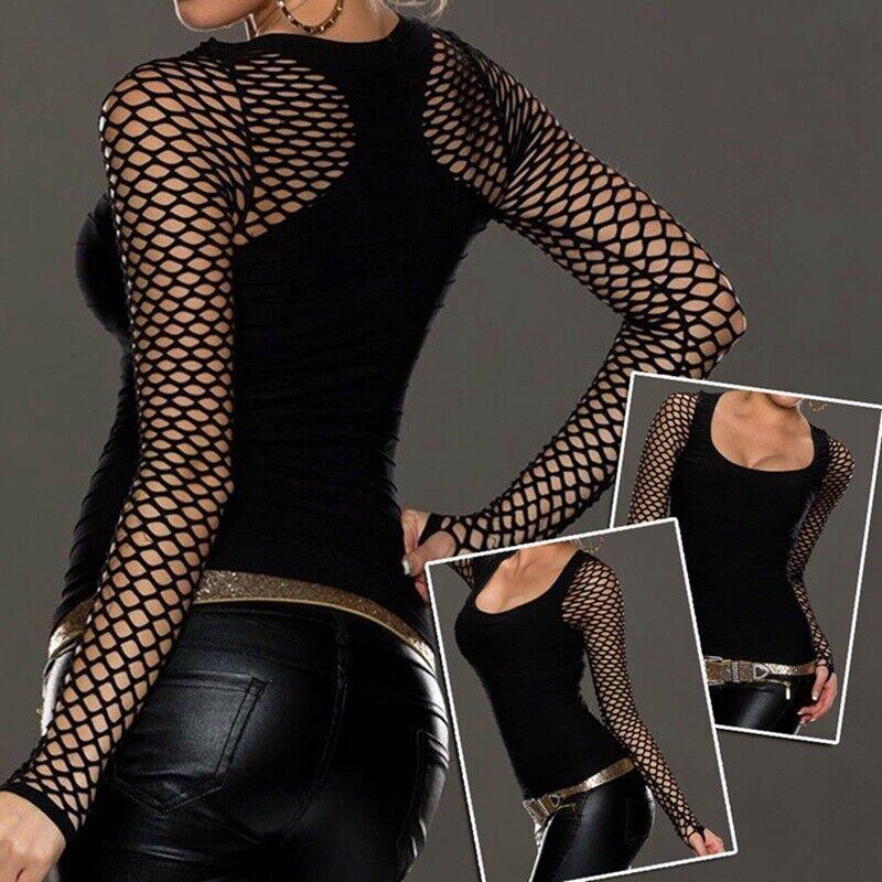 Women Slim Low Cut Long Sleeve Blouse Net Tops Punk Rock Gothic Fishnet Shirt 9