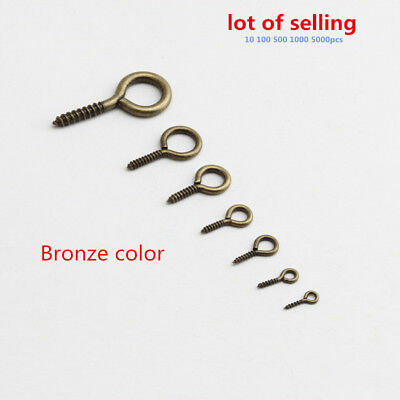 50Pack Tiny Small Eye Pins Eyepins Hooks Eyelets Screw Threaded metalic 16mm
