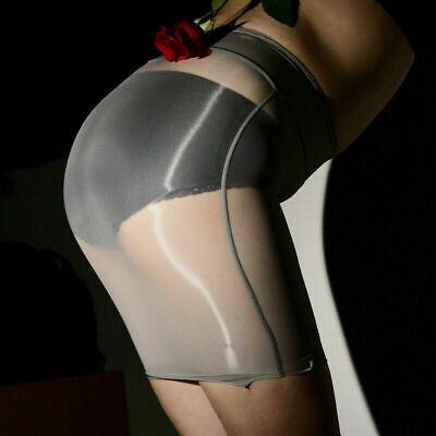 Damen Glänzend Sheer Nylon Rock Stretch Minirock Transparent Bodycon Partykleid 10